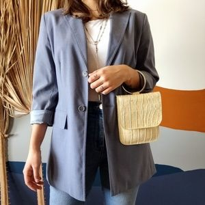 BCBG Maxazria Light Blue Long Blazer Jacket